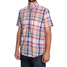Barbour Fred Madras Check Shirt - Tailored Fit, Short Sleeve (For Men) in Deep Blue Check - Closeouts