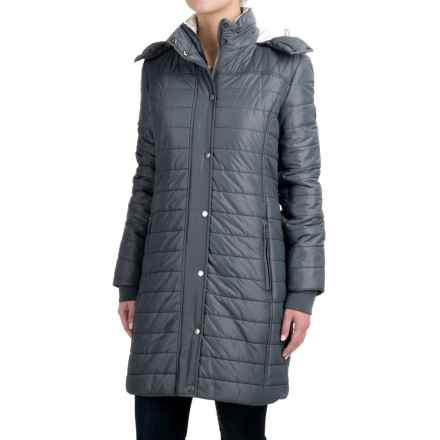 Barbour Gaiter Baffle-Quilted Long Jacket - Insulated, Hooded (For Women) in Washed Charcoal - Closeouts