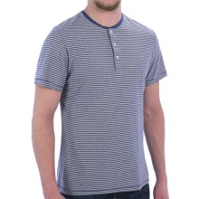 Barbour Henley Shirt - Short Sleeve (For Men) in Marine Blue, Charger Stripe - Closeouts