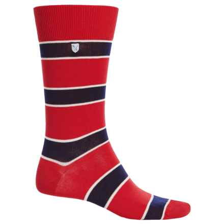 Barbour Hexham Striped Socks - Crew (For Men) in Rich Red - Closeouts