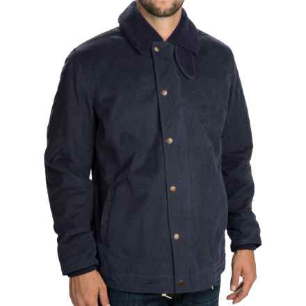 Barbour Hurricane Jacket - Waxed Cotton, Insulated (For Men) in Navy - Closeouts