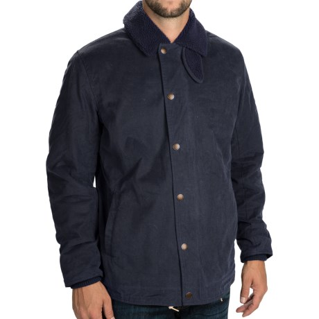Barbour Hurricane Jacket - Waxed Cotton, Insulated (For Men) in Navy