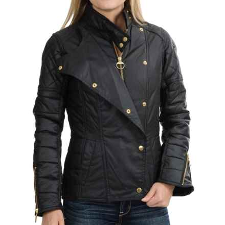Barbour International Axle Biker Jacket - Quilted, Waxed Cotton (For Women) in Black - Closeouts