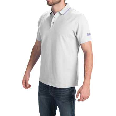 Barbour International Cotton Polo Shirt - Short Sleeve (For Men) in White/Blue - Closeouts