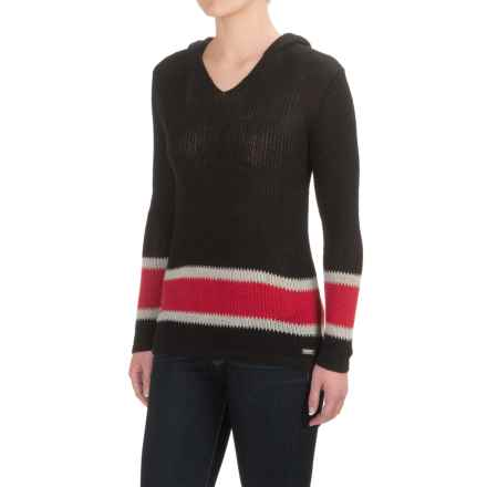Barbour International Electra Hoodie Sweater (For Women) in Black/Red - Closeouts