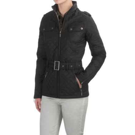Barbour International Quilted Biker Jacket (For Women) in Black, Chain Belt - Closeouts