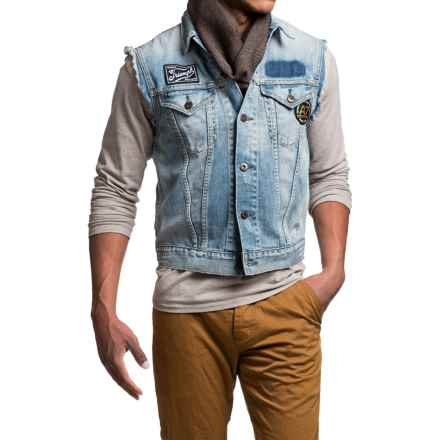 Barbour International Rider Denim Vest (For Men) in Heavey Stone - Closeouts