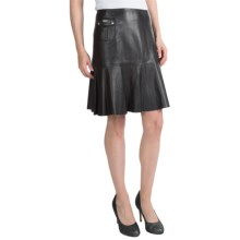 Barbour International Shadow Leather Short Flip Skirt (For Women) in Black - Closeouts