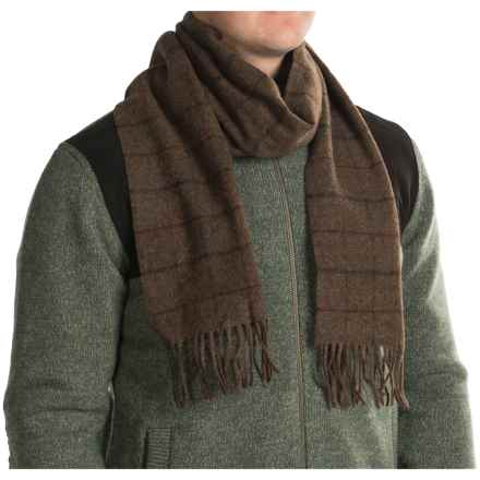 Barbour Kenneth Overcheck Wool Scarf (For Men and Women) in Brown Check - Closeouts