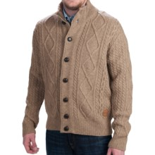 Barbour Kirkham Cable-Knit Cardigan Sweater - Lambswool (For Men) in Barley - Closeouts