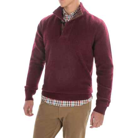 Barbour Knowlton Lambswool Sweater - Button Neck (For Men) in Ruby - Closeouts