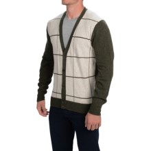 Barbour Lambswool Cardigan Sweater (For Men) in Seaweed, Pelham, Button - Closeouts
