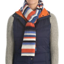 """Barbour Lambswool Scarf - 78x10"""" (For Women) in Blue Multi Stripe, Briggs - Closeouts"""