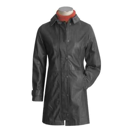 Barbour Leather Newmarket Jacket - Long  (For Women) in Black - Closeouts