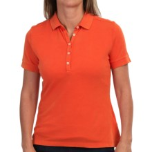 Barbour Lowesstoft Polo Shirt - Stretch Cotton, Short Sleeve (For Women) in Amber - Closeouts