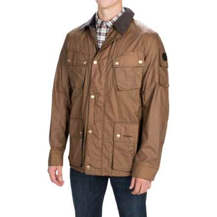 Barbour Lowland Jacket - Waxed Cotton (For Men) in Bark - Closeouts