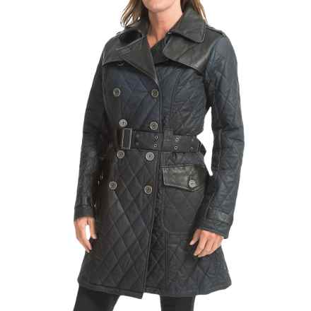Barbour Major Double-Breasted Coat - Waxed Cotton (For Women) in Navy/Compass - Closeouts