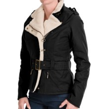 Barbour Matlock Waxed-Cotton Jacket - Fleece Lined (For Women) in Black/Natural - Closeouts