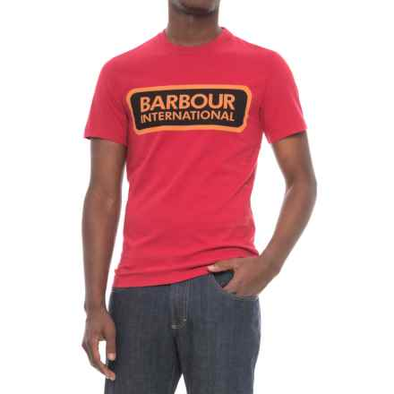 Barbour Mens Printed Cotton T-Shirt - Short Sleeve (For Men) in Red - Closeouts