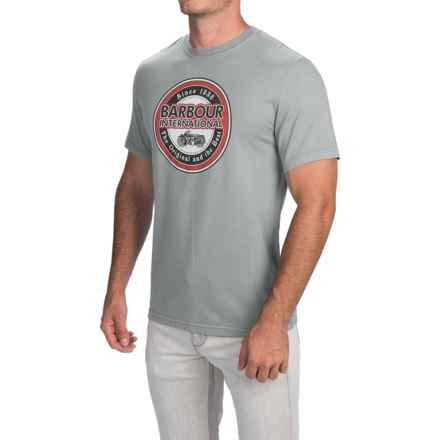 Barbour Mens Printed Cotton T-Shirt - Short Sleeve (For Men) in Smoke, Vtg Biker - Closeouts