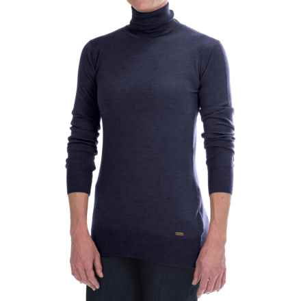 Barbour Merino Wool Rib-Knit Sweater - Turtleneck (For Women) in Navy - Closeouts