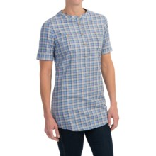 Barbour Monarch Cotton Shirt - Short Sleeve (For Women) in Cornflower Check - Closeouts