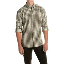 Barbour Monty Gingham Check Flannel Shirt - Long Sleeve (For Men) in Olive Marl Check - Closeouts
