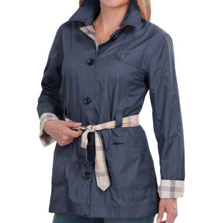 Barbour Oak Short Trench Coat - Reversible (For Women) in Navy R/Summer Dress - Closeouts