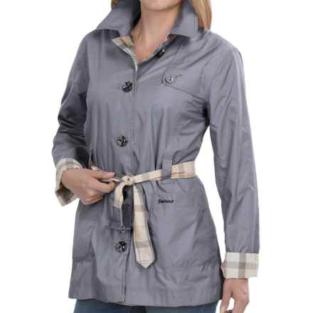 Barbour Oak Short Trench Coat - Reversible (For Women) in Pewter R/Summer Dress - Closeouts