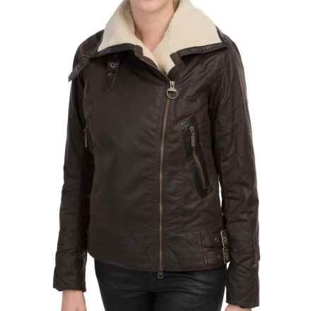 Barbour Ordanance Jacket - Waxed Cotton, Sherpa Lined (For Women) in Rustic/Natural - Closeouts