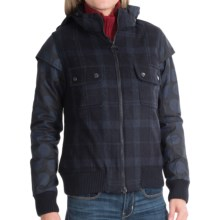 Barbour Otway Hooded Wool Bomber Jacket (For Women) in Navy Check - Closeouts