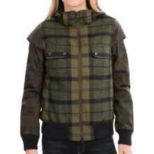 Barbour Otway Hooded Wool Bomber Jacket (For Women) in Olive Check - Closeouts