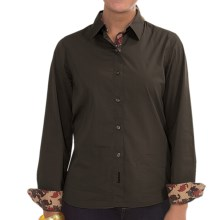 Barbour Overton Shirt - Stretch Cotton, Long Sleeve (For Women) in Dark Olive - Closeouts