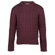 Barbour Pantone Cable-Knit Lambswool Sweater - Crew Neck (For Boys) in Rosewood - Closeouts