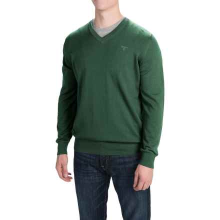 Barbour Pima Cotton Sweater - V-Neck (For Men) in Green - Closeouts