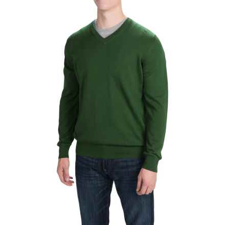 Barbour Pima Cotton Sweater - V-Neck (For Men) in Racing Green - Closeouts