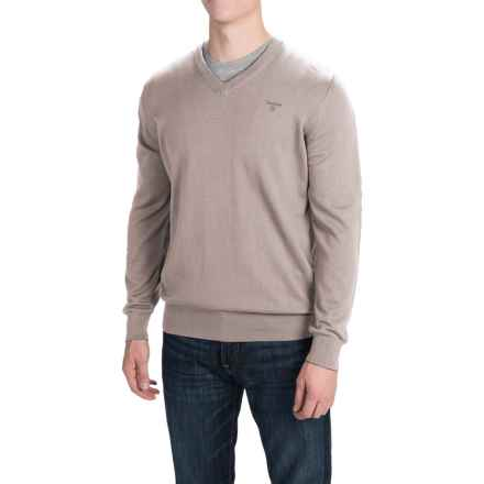Barbour Pima Cotton Sweater - V-Neck (For Men) in Sand Marl - Closeouts