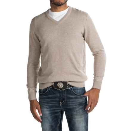Barbour Pima Cotton Sweater - V-Neck (For Men) in Sand - Closeouts
