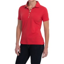 Barbour Pique Polo Shirt - Short Sleeve (For Women) in Poppy, Floral Placket - Closeouts