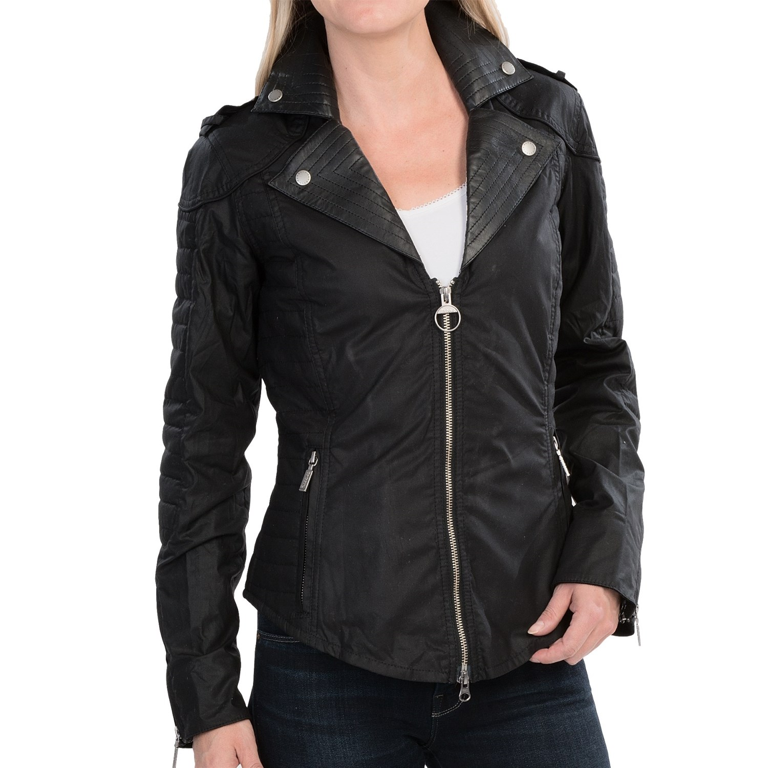 Barbour Pivot Jacket - Waxed Cotton (For Women) in Black. Click to expand