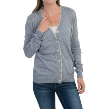 Barbour Popham Lightweight Cardigan Sweater - Viscose-Linen (For Women) in Blue Melange - Closeouts