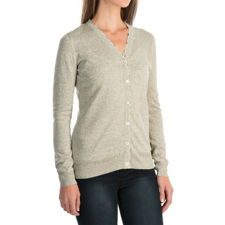 Barbour Popham Lightweight Cardigan Sweater - Viscose-Linen (For Women) in Green Lily