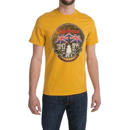 Barbour Printed Cotton Knit T-Shirt - Short Sleeve (For Men) in Mustard, Protective - Closeouts