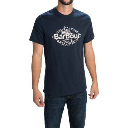 Barbour Printed Cotton Knit T-Shirt - Short Sleeve (For Men) in Navy, Harbour - Closeouts