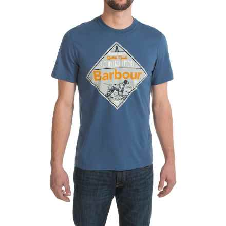 Barbour Printed Cotton Knit T-Shirt - Short Sleeve (For Men) in Oxbridge Blue, Shields - Closeouts