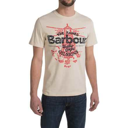 Barbour Printed Cotton Knit T-Shirt - Short Sleeve (For Men) in Sea Salt, Vessel - Closeouts