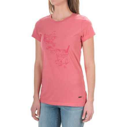 Barbour Printed Cotton Round Neck T-Shirt - Short Sleeve (For Women) in Dusky Pink, Bowlees - Closeouts