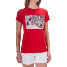 Barbour Printed Cotton Round Neck T-Shirt - Short Sleeve (For Women) in Red, Elena - Closeouts