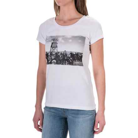 Barbour Printed Cotton Round Neck T-Shirt - Short Sleeve (For Women) in White, Blencarn - Closeouts