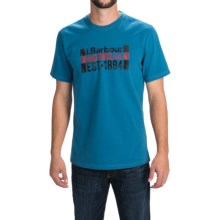 Barbour Printed Cotton T-Shirt - Short Sleeve (For Men) in Aqua, Pride - Closeouts